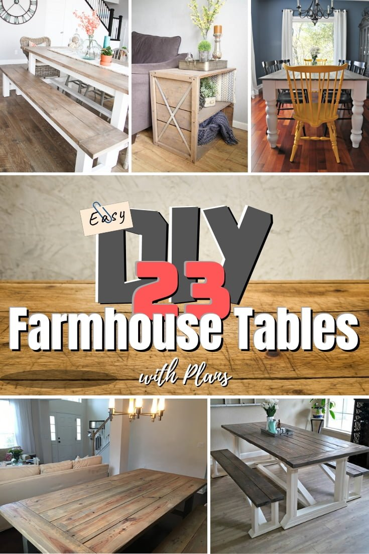 Who else agrees that farmhouse tables are awesome? This is a great list of 23 easy DIY farmhouse tables with plans #homedecor #DIY #farmhouse