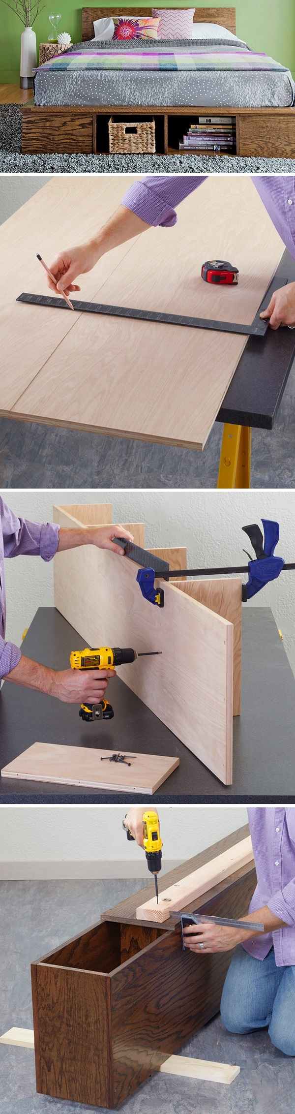 Check out the tutorial how to build a DIY platform storage bed