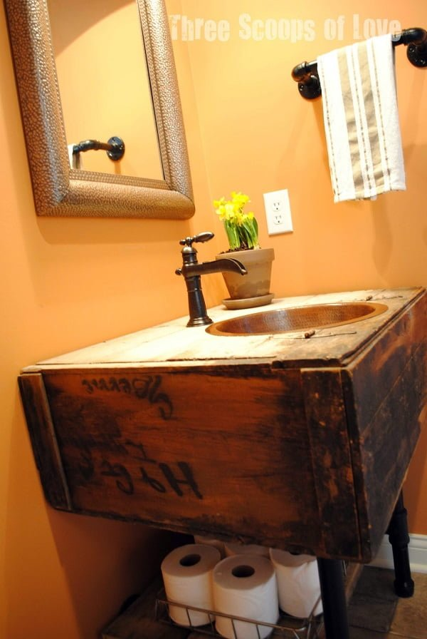 How to make a #DIY bathroom vanity from a reclaimed cabinet #homedecor