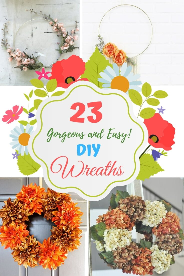 Want to make a gorgeous wreath? Here are 23 easy ideas for a DIY wreath! #homedecor #DIY