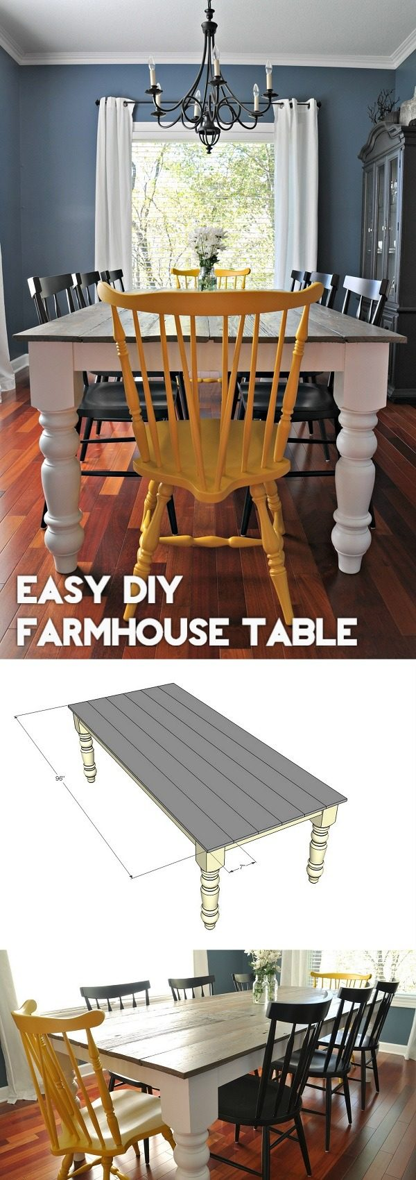 Check out the tutorial how to build an easy #DIY #farmhouse dining table #HomeDecorIdeas