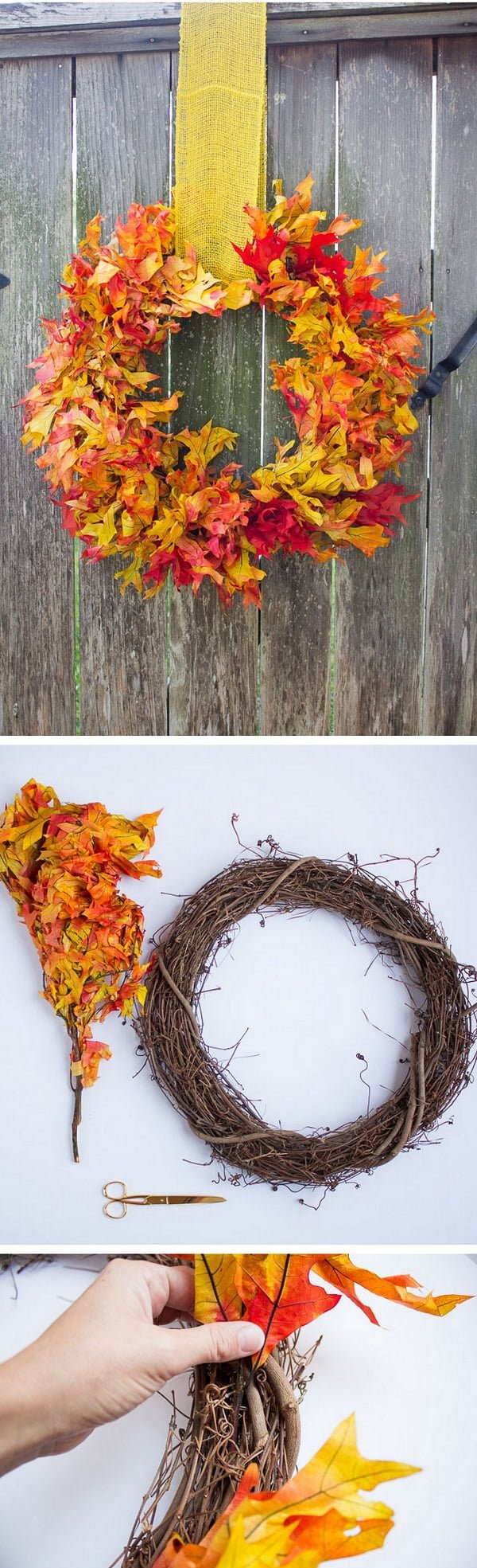 Check out the tutorial on how to make a DIY front door fall wreath