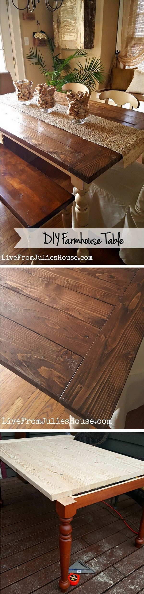 Check out the tutorial how to build a DIY farmhouse dining table
