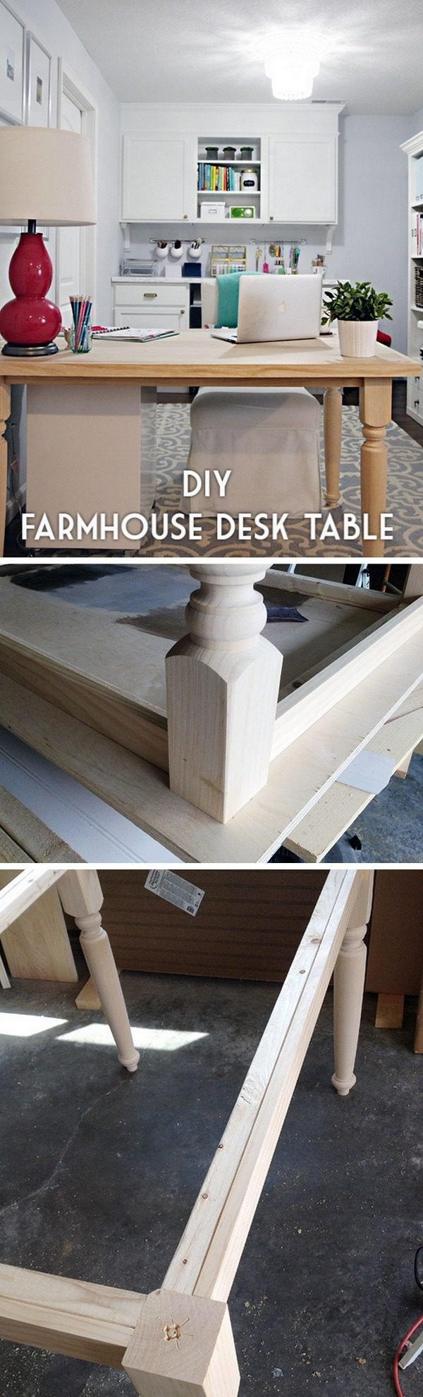 Check out the tutorial how to build a #DIY #farmhouse desk table #HomeDecorIdeas #RusticDecor