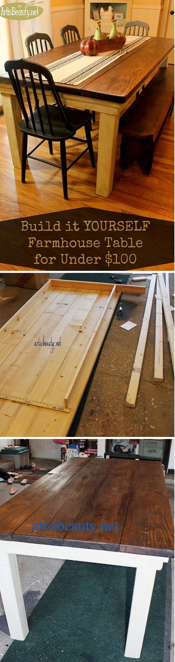 Check out the tutorial how to build a DIY farmhouse dining table for under $100