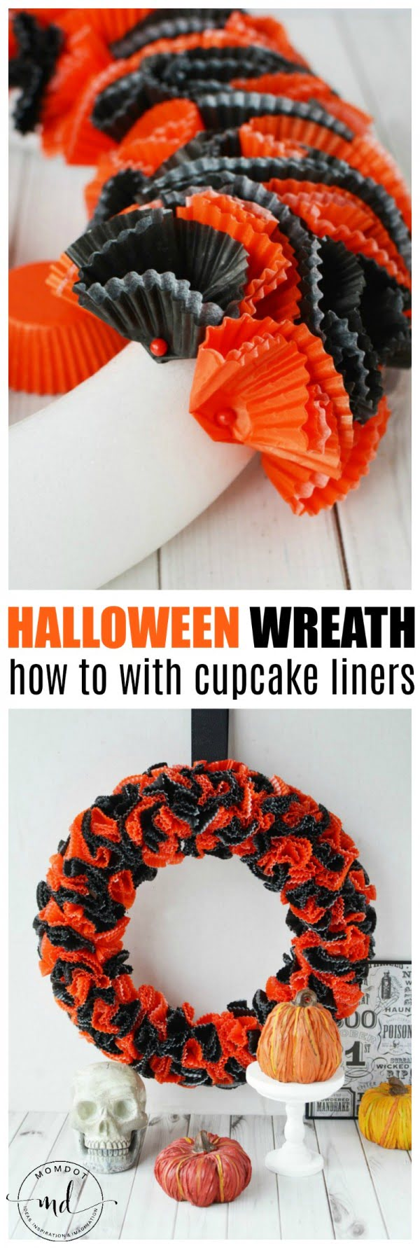Check out the tutorial on how to make a DIY halloween wreath from cupcake liners