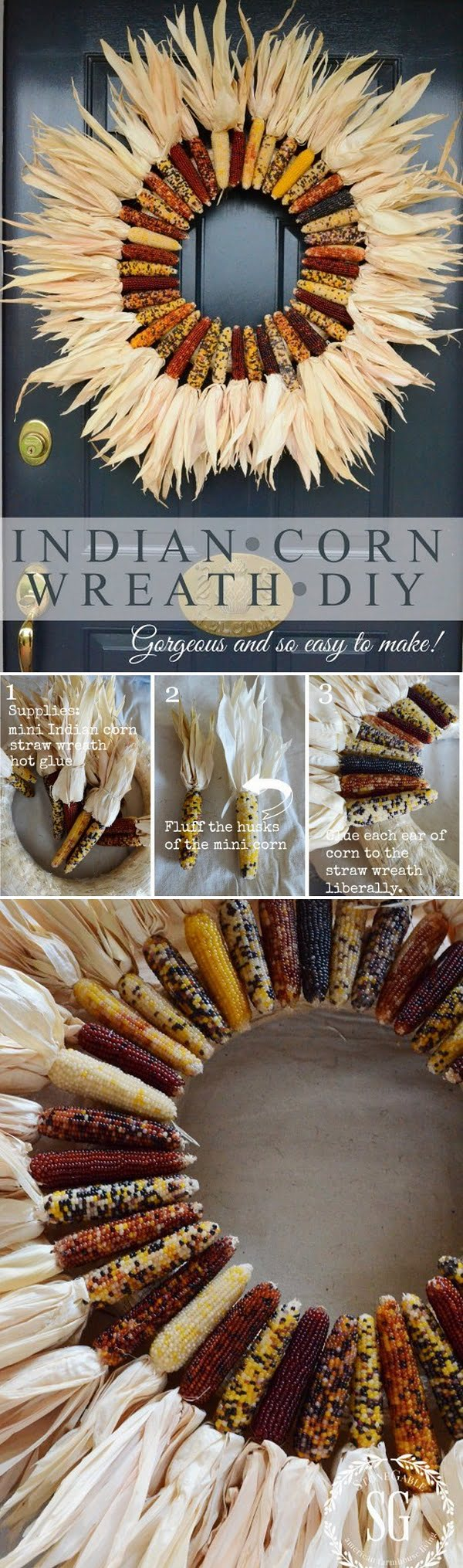 Check out the tutorial on how to make a DIY Indian corn fall wreath