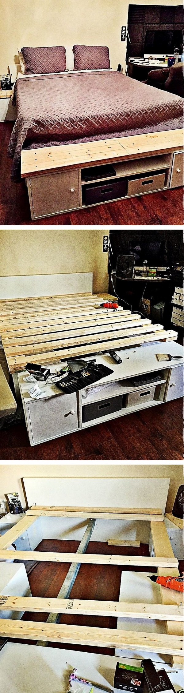 Check out the tutorial how to build a DIY Japanese style storage bed