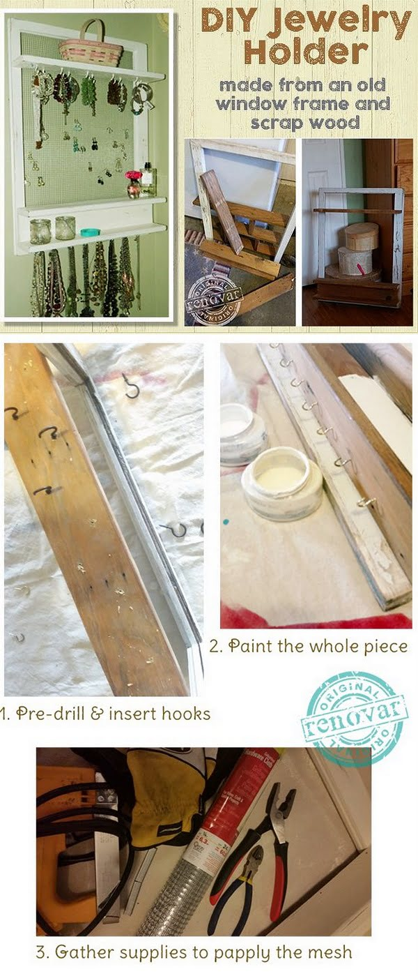 Check out the tutorial how to make a DIY jewelry holder from an old window
