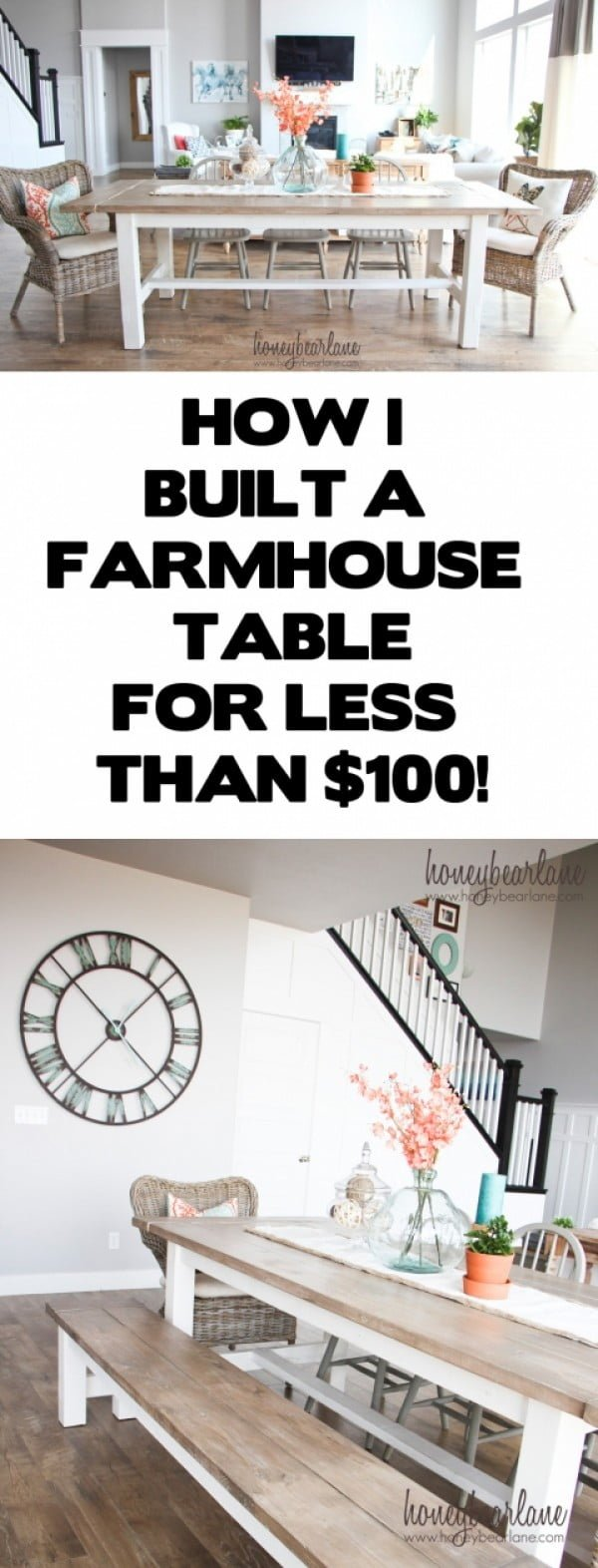 Check out the tutorial how to build a DIY farmhouse table for under $100