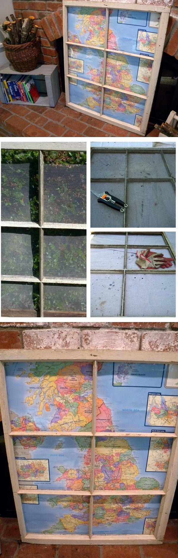 Check out the tutorial how to make a DIY decorative map from an old window