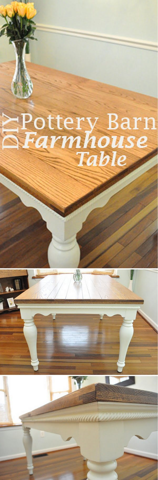 Check out the tutorial how to build a DIY Pottery Barn inspired farmhouse dining table