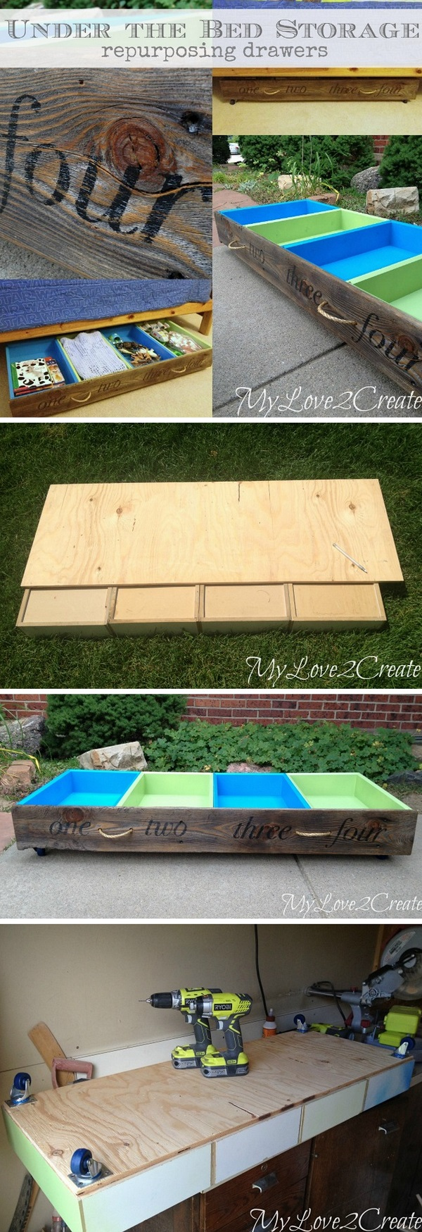 Check out the tutorial how to build DIY under the bed repurposed storage drawers