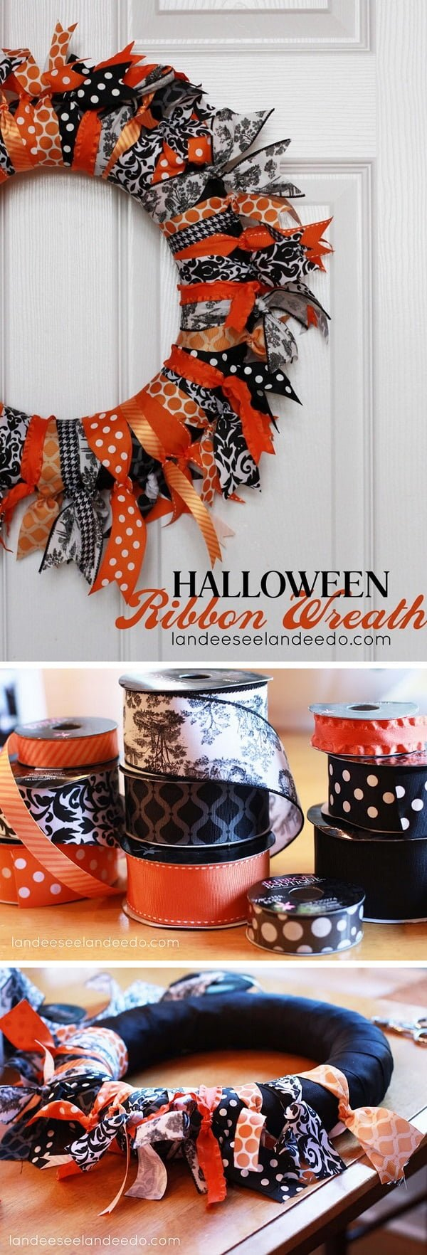 Check out the tutorial on how to make a DIY ribbon halloween wreath