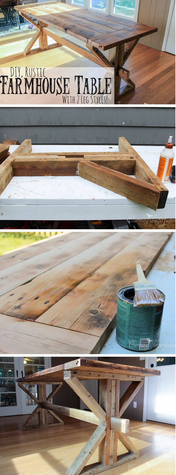 Check out the tutorial how to build a DIY rustic farmhouse dining table