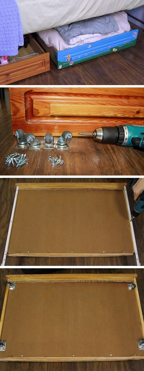 Check out the tutorial how to build DIY under bed storage drawers