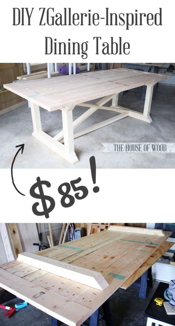 Check out the tutorial how to build a DIY ZGallerie inspired farmhouse dining table for $85
