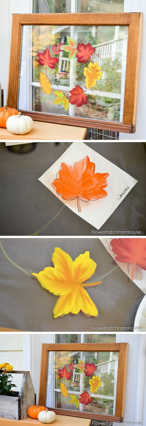 Check out the tutorial how to make a DIY decorative autumn leaves sign from an old window