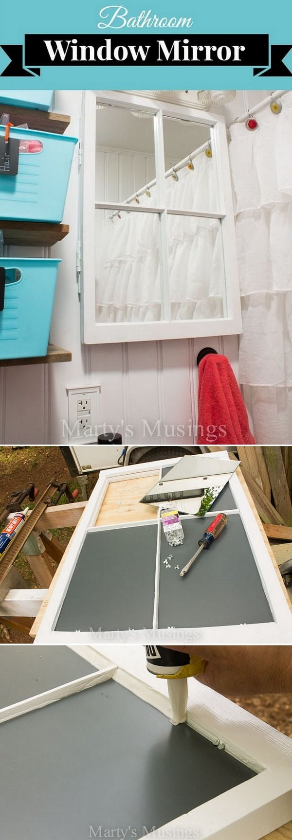 Check out the tutorial how to make a DIY bathroom mirror from an old window