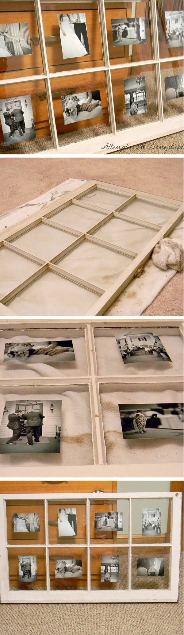Check out the tutorial how to make a DIY photo display frame from an old window