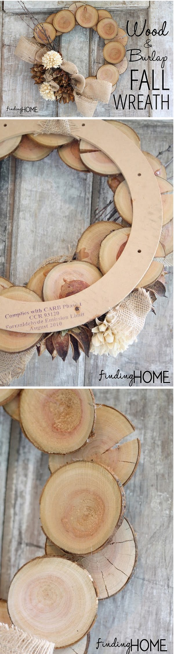 Check out the tutorial on how to make a DIY wood and burlap natural fall wreath