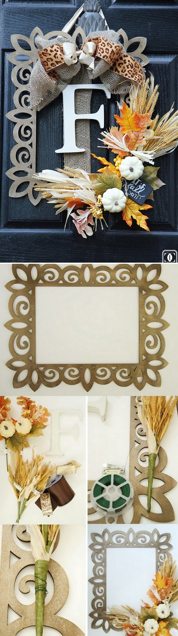Check out the tutorial on how to make a DIY fall wreath using a wooden frame