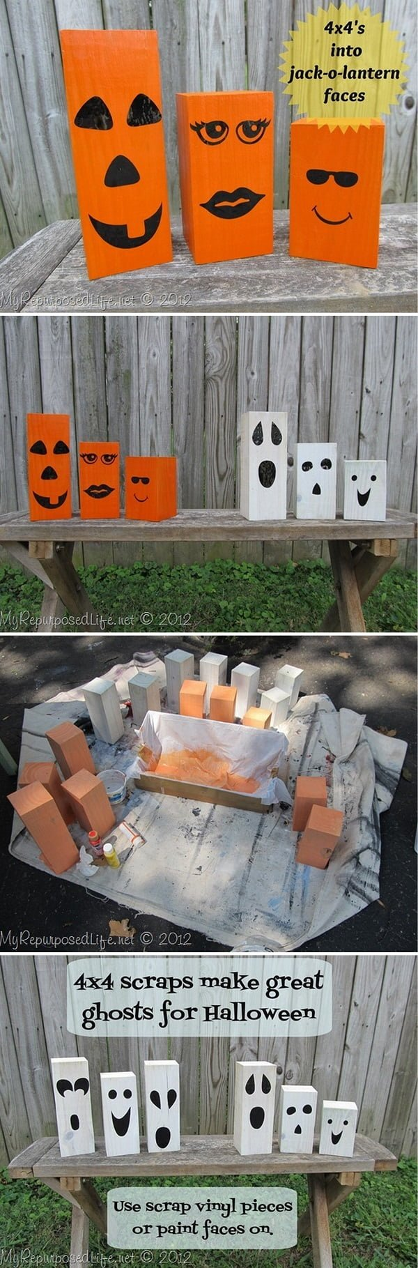 Check out the tutorial on how to make #DIY 4x4 post jack-o-lanterns for #Halloween home decoration #repurpose #upcycle #homedecor