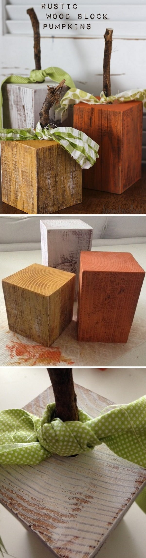 Check out the tutorial on how to make #DIY #rustic wood block pumpkins #woodworking #homedecor #fall