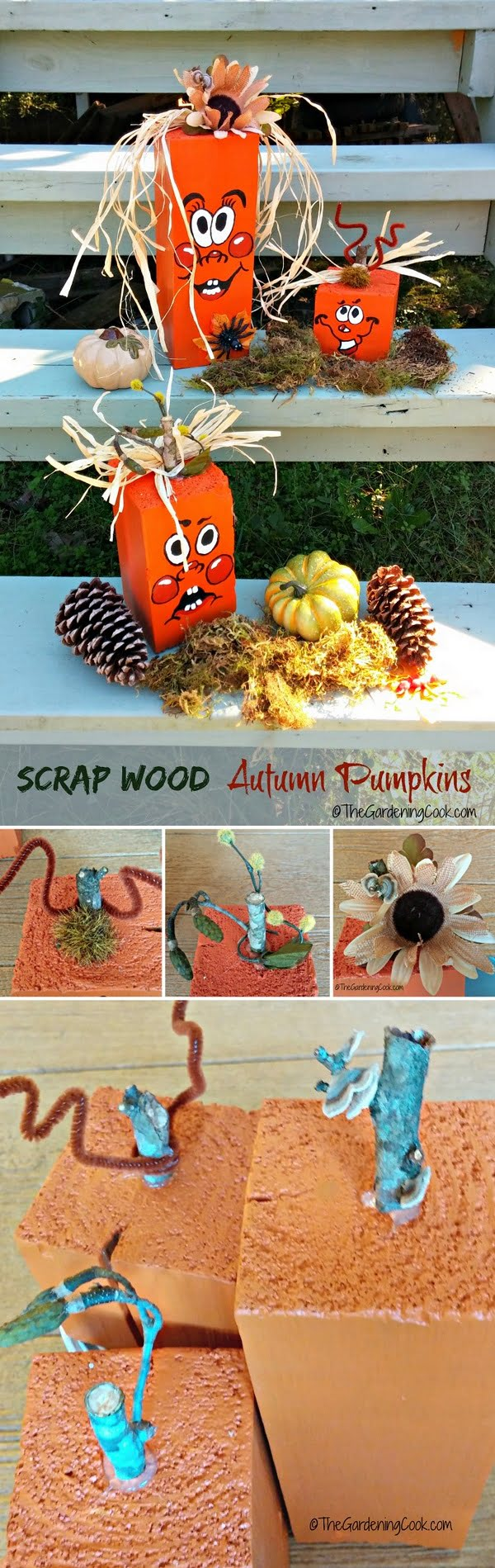 Check out the tutorial on how to make #DIY #rustic adorable scrap wood pumpkins #woodworking #homedecor #fall