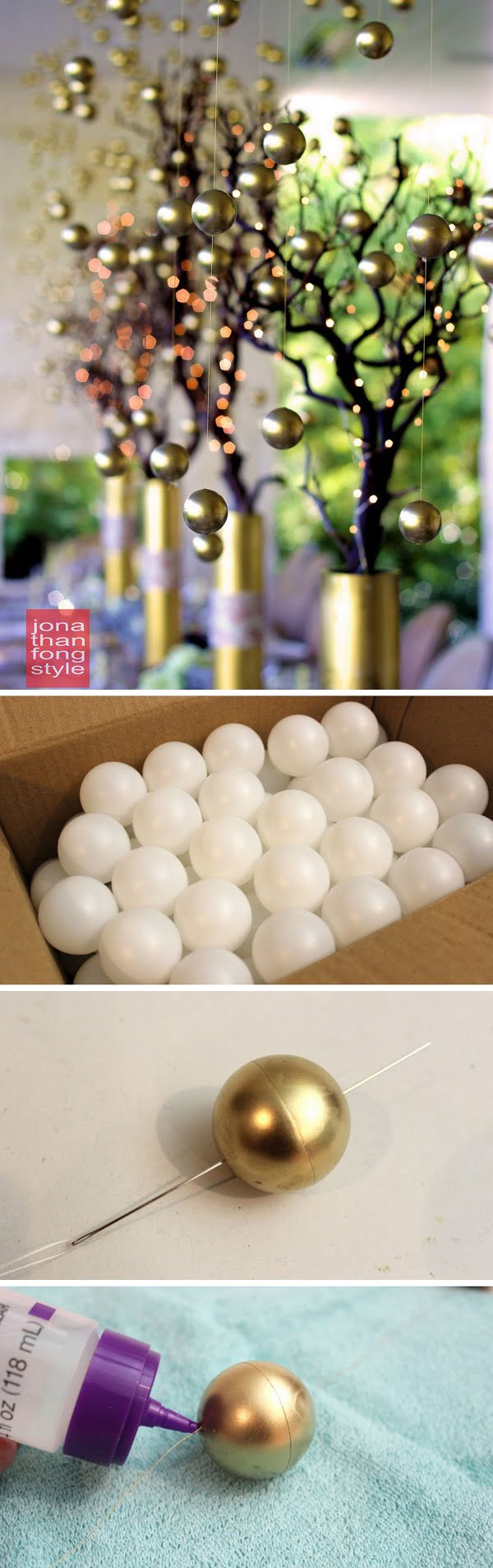 Check out this easy  golden balls idea for your  table