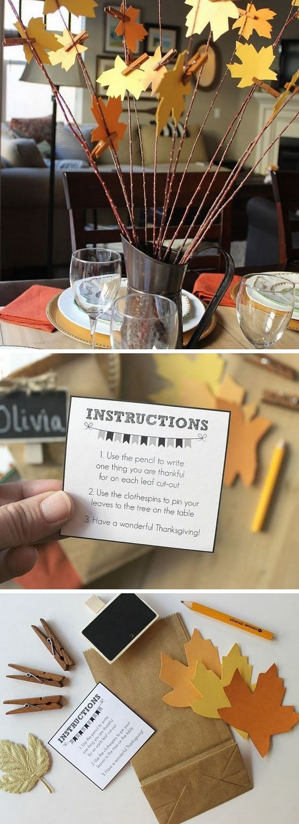 Check out this easy  thankful tree idea for your  table