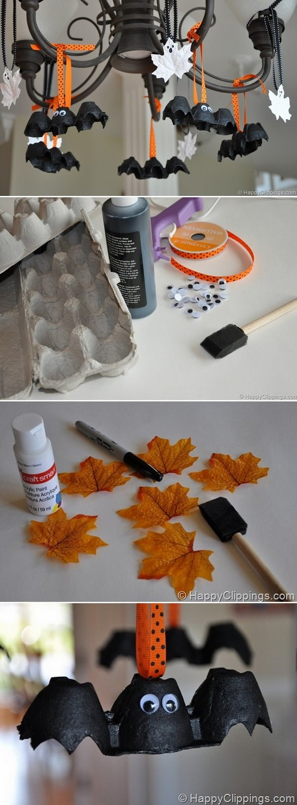 Check out the tutorial on how to make DIY egg cartoon bats and leaf ghosts for Halloween home decoration