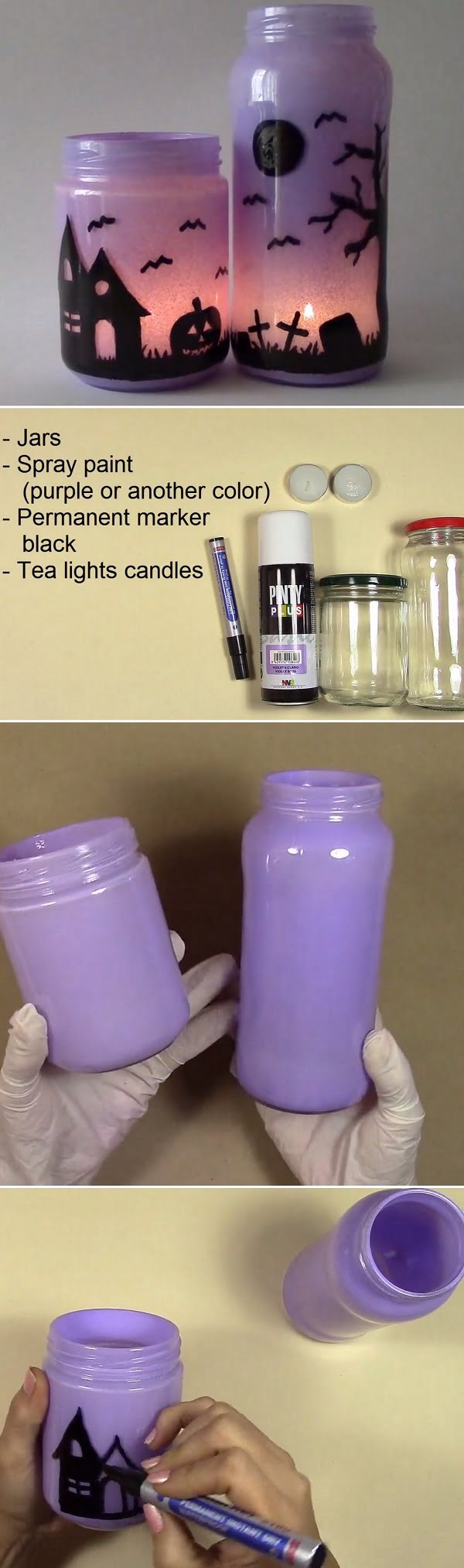 Check out the tutorial how to make  purple  mason jar luminaries