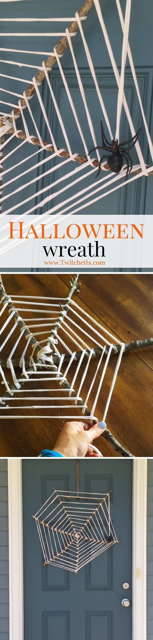 Check out the tutorial on how to make an upcycled #DIY spider web wreath for Halloween home decoration #Halloween #upcycle #repurpose #homedecor
