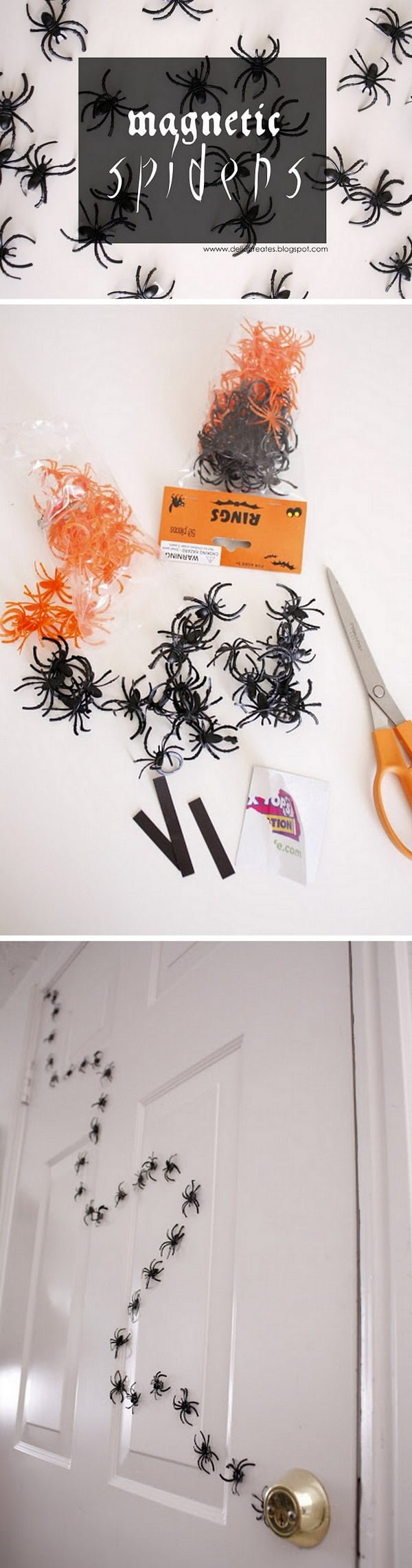Check out the tutorial on how to make a DIY spider trail for Halloween home decoration