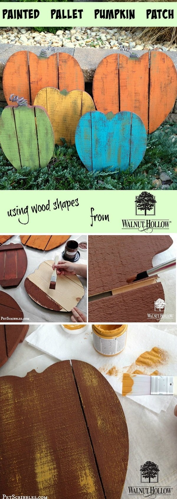 Check out the tutorial on how to make #DIY #rustic painted wood pallet pumpkins #woodworking #homedecor #fall