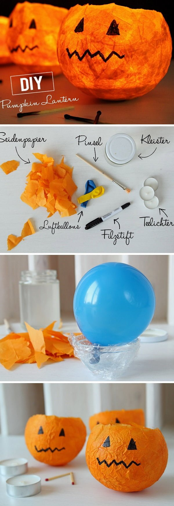 Check out the tutorial on how to make DIY pumpkin wind lanterns for Halloween home decoration
