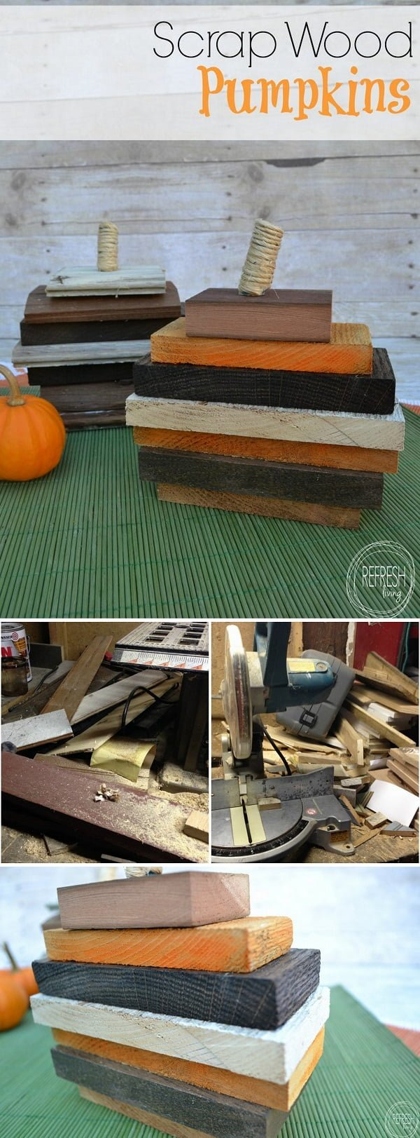 Check out the tutorial on how to make #DIY #rustic #recycled wood pumpkins #woodworking #homedecor