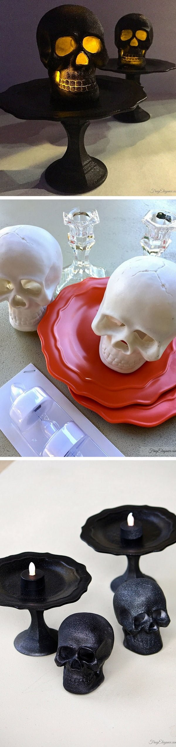 Check out the tutorial on how to make #DIY light up skull candle holders for #Halloween home decoration #homedecor