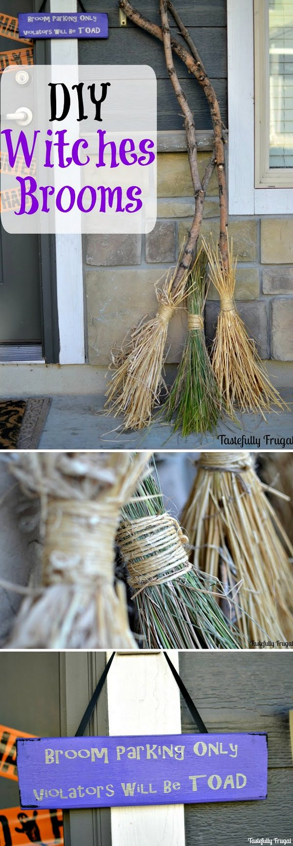 Check out the tutorial on how to make DIY witches brooms for Halloween home decoration