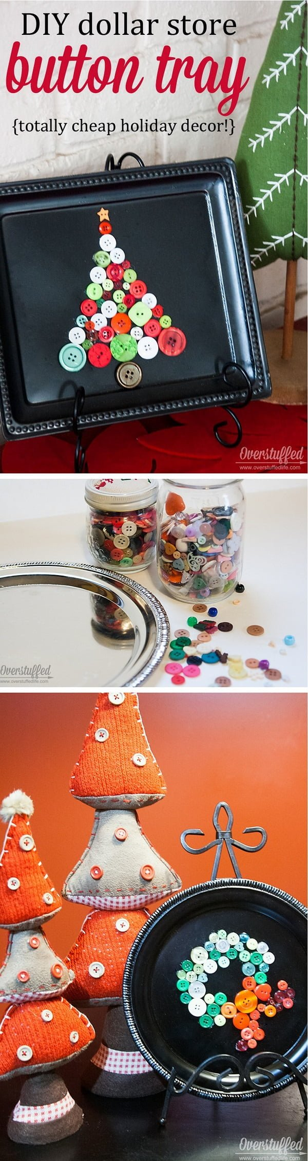 Check out this easy idea on how to make a  button tray  decoration from  items