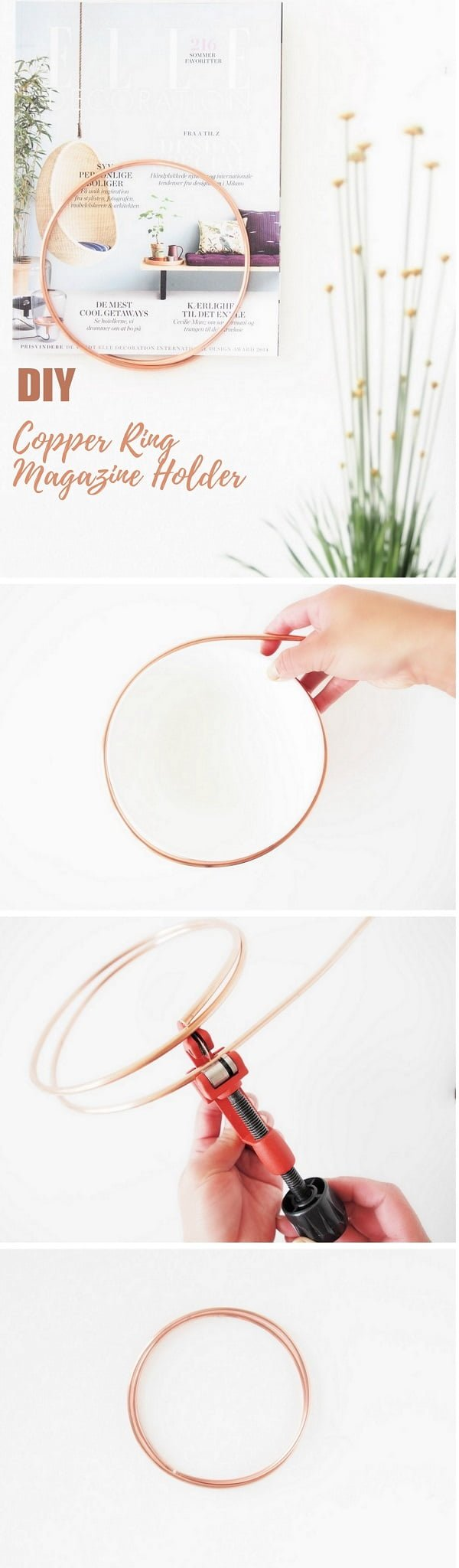 Check out this easy idea on how to make a #DIY copper ring magazine holder for #apartments #homedecor on a #budget #crafts