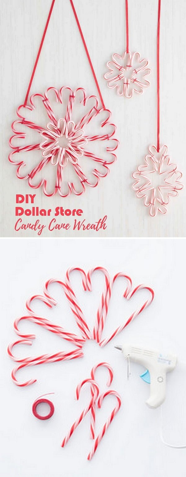 Check out this easy idea on how to make a   candy cane wreath from  items