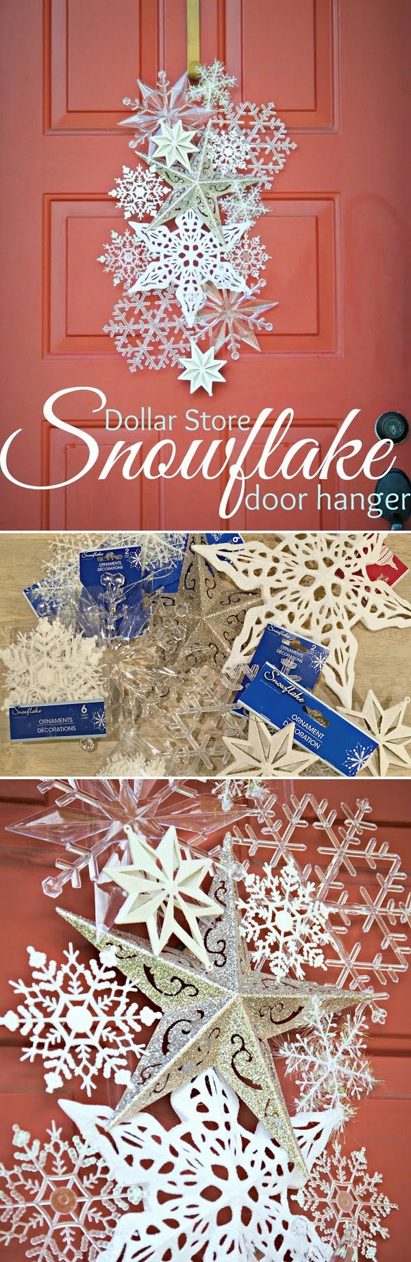 Check out this easy idea on how to make a   snowflake wreath from  items
