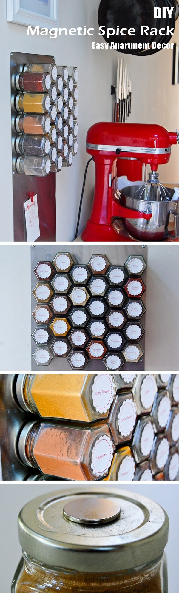 Check out this easy idea on how to make a #DIY magnetic spice rack for #kitchen and #apartment #homedecor on a #budget
