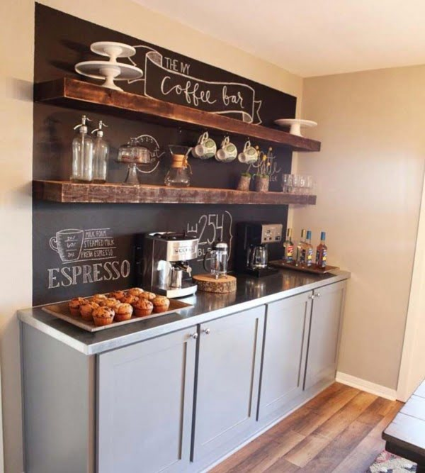30 Unique Home Decor Ideas That Are Totally Doable - Love this idea for a #rustic coffee bar that you can #DIY #homedecor