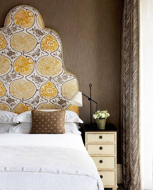 Just love this intricate headboard design. So colorful! #bedroom #homedecor