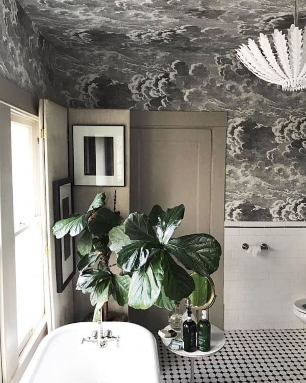 30 Unique Home Decor Ideas That Are Totally Doable - Stunning use of ceiling wallpaper in this  decor