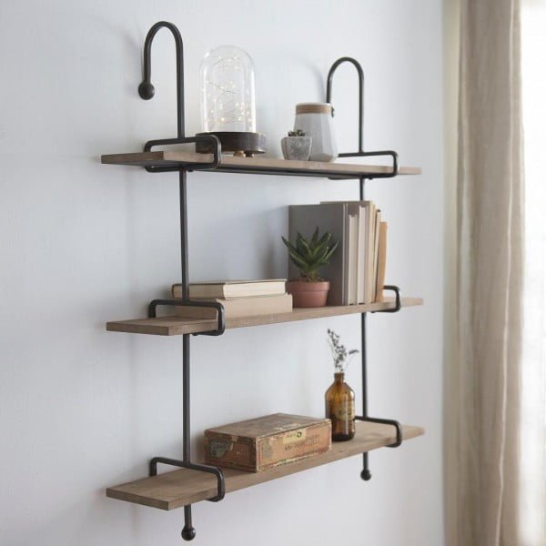 30 Unique Home Decor Ideas That Are Totally Doable - Love this industrial shelf design for some extra storage and  accent