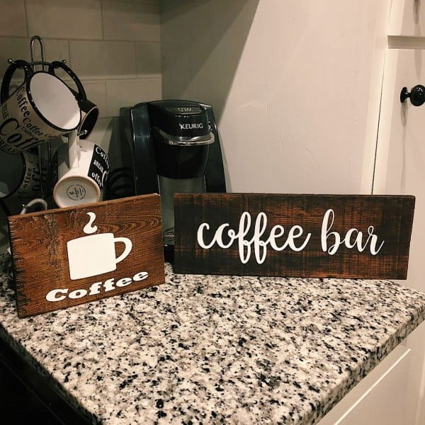 30 Cool Cricut Project Ideas That You Can Use in Home Decor - Love this   coffee bar sign